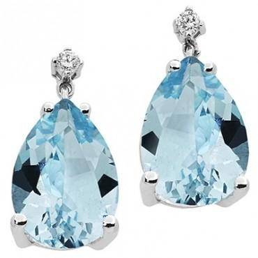 Orecchini Comete Gioielli In Oro Bianco Con Topazi Azzurri A Goccia E Diamanti Orb 766
