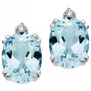 Orecchini Comete Gioielli In Oro Bianco Con Diamanti E Topazi Ovali Orb 767