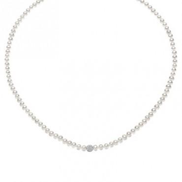 Collana Da Donna Comete Gioielli Fili Fantasia Con Perle E Oro Bianco Fwq 196 B