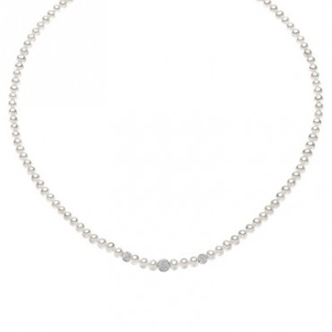 Collana Da Donna Comete Gioielli Fili Fantasia Con Perle E Oro Bianco Fwq 195 B