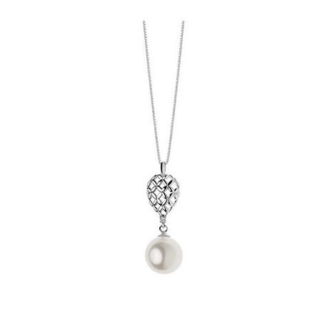 Collana Da Donna Comete Gioielli Candore In Oro Bianco, Diamante E Perla Glp 492