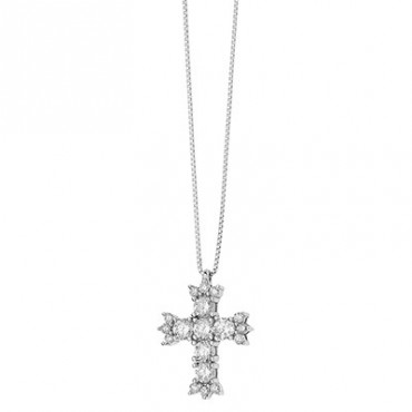 Collana Comete Gioielli Fantasia Di Colore Con Croce In Oro Bianco E Diamanti Glb 1381
