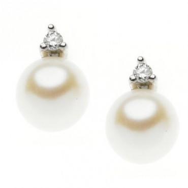 Orecchini Comete Gioielli Easy Basic In Oro Bianco Con Diamanti E Perle Orp 664