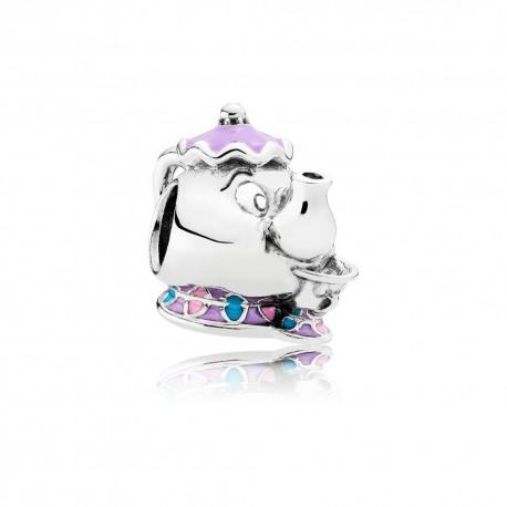 Pandora Disney Charm Mrs Bric e Chicco in argento La Bella e la Bestia