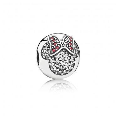 Pandora Disney Charm Clip Minnie in Pavè in argento e Zirconi