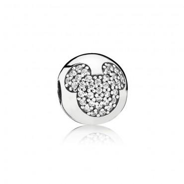 Pandora Disney Clip Mickey Mouse in Pavè in argento e Zirconi