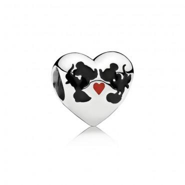 Pandora Disney Charm Il Bacio di Mickey Mouse & Minnie in argento