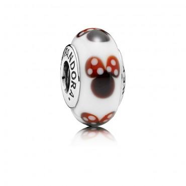 Pandora Disney Charm in Vetro di Murano inconfondibile Minnie in argento