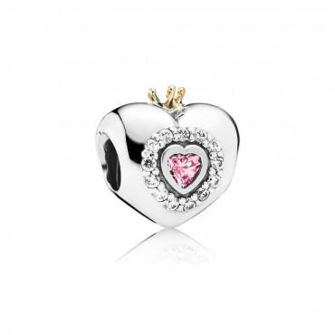 Pandora Charm Cuore da Principessa in Argento e Oro 14K