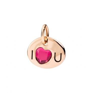 Piastrina I Love U in Oro Rosa 9kt e Rubino Sintetico - DoDo