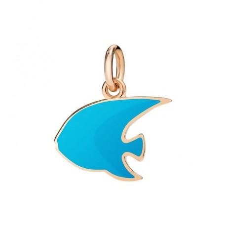 Pesce Angelo Ciondolo in Oro Rosa 9kt e Smalto Azzurro - DoDo