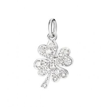 Quadrifoglio Ciondolo in Oro Bianco 18Kt e Diamanti - DoDo