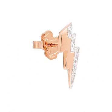 Orecchino Fulmine in Oro Rosa 9Kt e Diamanti - DoDo