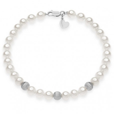 Bracciale Donna Comete Gioielli Fili fantasia in oro bianco e perle - BRQ292