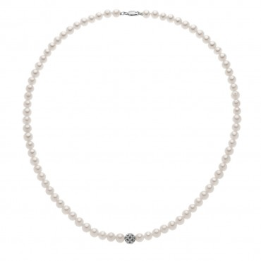 Collana Girocollo Donna Comete Gioielli Candore in oro bianco e perle - FWQ245B