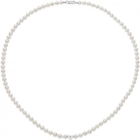Collana Girocollo Donna Comete Gioielli Fantasie di Perle in oro bianco e perle con diamanti - FWQ264