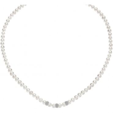 Collana Girocollo Donna Comete Gioielli Fili fantasia in oro bianco e perle - FWQ272