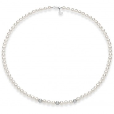 Collana Girocollo Donna Comete Gioielli Fili fantasia in oro bianco e perle - FWQ292