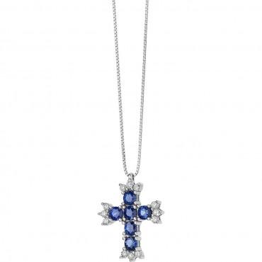 Collana Girocollo Donna Comete Gioielli Pendente a Croce Fantasia di Colore in oro bianco, zaffiro e diamanti - GLB1380