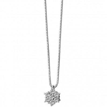Collana Girocollo Donna Comete Gioielli Punto Luce Rose di Diamanti in oro bianco e diamanti - GLB615