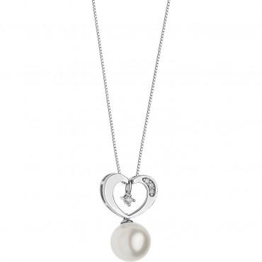 Collana Girocollo Donna Comete Gioielli Pendente a Cuore Fantasie di Perle in oro bianco, perle e diamanti - GLP557