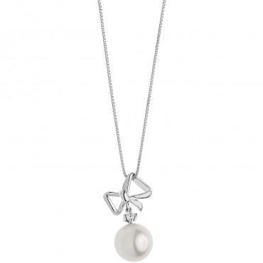 Collana Girocollo Donna Comete Gioielli Pendente a Fiocco Fantasie di Perle in oro bianco e perle - GLP558