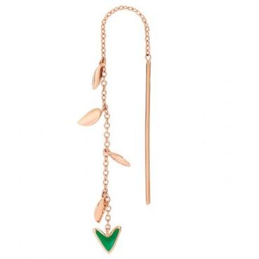 Orecchino Freccia e Foglioline DoDo in Oro Rosa 9kt e Smalto Verde
