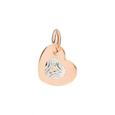 Charm ciondolo pendente Donna DoDoo silhouette Cuore in oro rosa con lucchetto in oro bianco 9kt - DMCUORG/9/SE9B/K