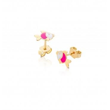 Orecchini bimba bambina Roberto Giannotti con pesciolini smalto bianco-rosa in Oro collezione Giardino degli angeli - NKT266