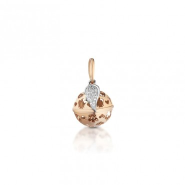Collana da donna Roberto Giannotti pendente a sfera rosato e ala con Zirconi in Argento rosato collezione Chiama Angeli - SFA98