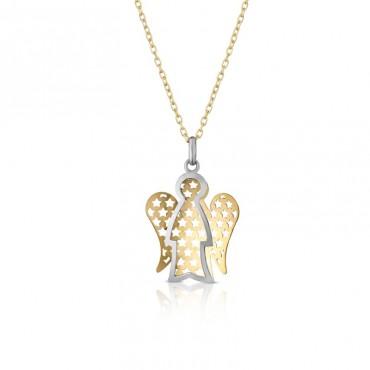 Collana da donna Roberto Giannotti con charm angelo pendente in Oro Giallo e Bianco collezione Angeli 42-45cm - NKT252