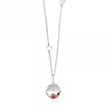 Collana da donna Roberto Giannotti con pendente a sfera rosato in Argento collezione Chiama Angeli 70cm - SFA93