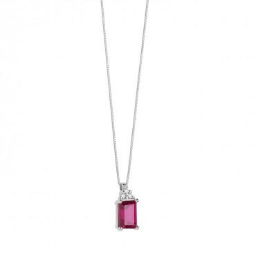Collana donna Comete Gioielli in Oro Bianco e diamanti e rubino collezione Storia di luce 42cm - GLB 1439