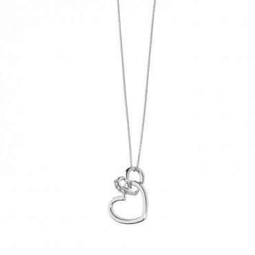 Collana donna Comete Gioielli in Oro Bianco e Diamanti collezione Cuori Pendenti a forma di cuore - GLB 1340