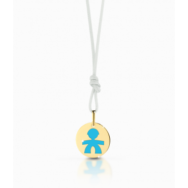 Ciondolo Bambino Le Bebè in Oro Giallo collezione Prime Gioie Classici charm maschietto smaltato azzurro. 12-14cm PMG 001