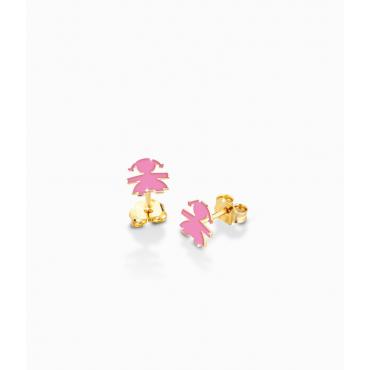Orecchini Bambina Le Bebè in Oro Giallo collezione Prime Gioie Classici con femminucciasmaltata rosa - 12-14cm PMG 003