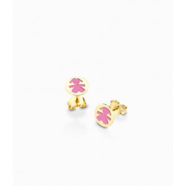 Orecchini Bambina Le Bebè in Oro Giallo collezione Prime Gioie Classici con femminuccia smaltata rosa - 12-14cm PMG 005
