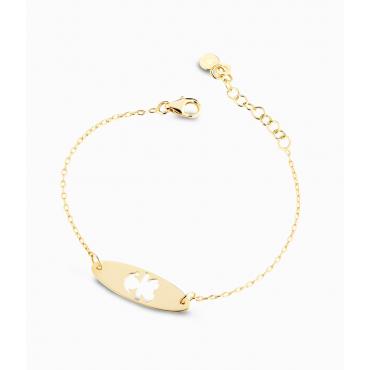Bracciale Bambina Le Bebè in Oro Giallo collezione Prime Gioie Classici targhetta forata ovale femminuccia -  12-14cm PMG 012