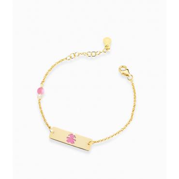 Bracciale Bambina Le Bebè in Oro Giallo Prime Gioie Classici targhetta rettangolare femminuccia smaltata rosa 12-14cmPMG 013