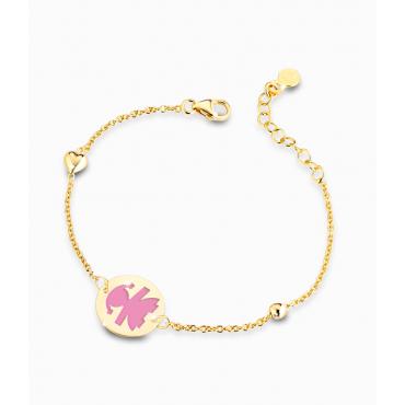 Bracciale Bambina Le Bebè in Oro Giallo Prime Gioie Classici cuoricino e targhetta femminuccia smaltata rosa  12-14cm PMG 014