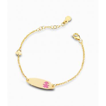 Bracciale Bambina Le Bebè in Oro Giallo Prime Gioie Classici stellina e targhetta ovale femminuccia smaltata rosa 12-14cmPMG 016