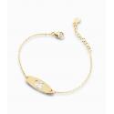Bracciale Bambina Le Bebè in Oro Bianco Prime Gioie Classici targhetta femminuccia smaltata bianca e Diamanti 12-14cmPMG 018