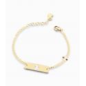 Bracciale Bambino Le Bebè in Oro Giallo Prime Gioie Classici targhetta rettangolare maschietto smaltato bianco 12-14cmPMG 019
