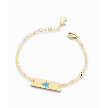Bracciale Bambino Le Bebè in Oro Giallo Prime Gioie Classici perlinae targhetta maschietto smaltato azzurro 12-14cm PMG 020