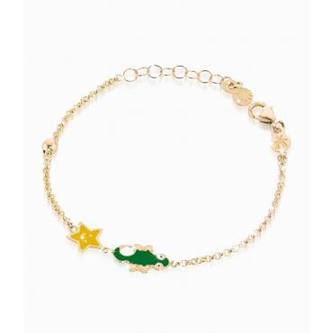 Bracciale Bambino Le Bebè in Oro Giallo collezione Prime Gioie Fortuna stellina e geco in smalto colorato - PMG 036