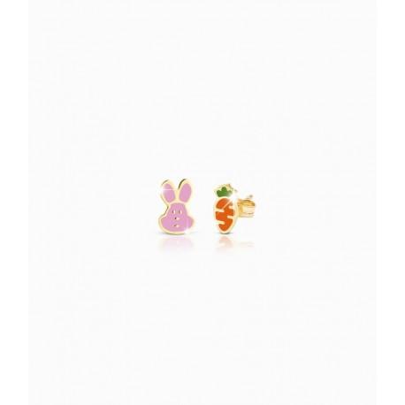 Orecchini Bambina Le Bebè in Oro Giallo collez. Prime Gioie Fortuna con carota e coniglietto smaltate colorate 14-16cm PMG 051