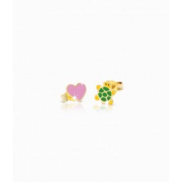 Orecchini Bambina Le Bebè in Oro Giallo collezione Prime Gioie Fortuna cuore e tartaruga smaltate colorate PMG 052