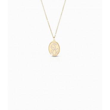 Collana Bambino Le Bebè in Oro Giallo collezione Prime Gioie Proteggimi angioletto smaltato e cuore inciso PMG 087