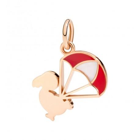 Charm donna DoDo in Oro Rosa DoDo Junior con paracadute smaltato rosso -  DMEVO/DO/9/K