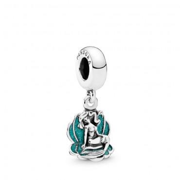 Charm pendente donna Pandora Moments favole Disney Ariel la Sirenetta e conchiglia in Argento smaltata verde 791895EN111